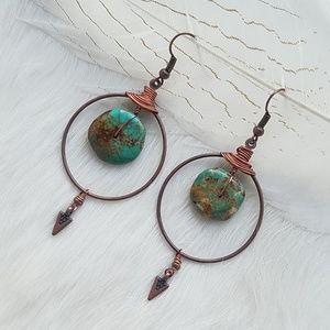 Kingman Turquoise + Bronze Hoops
